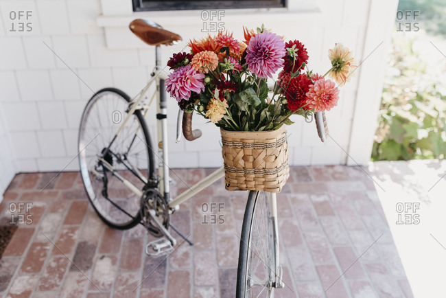 Vintage Bike with Basket of Flowers