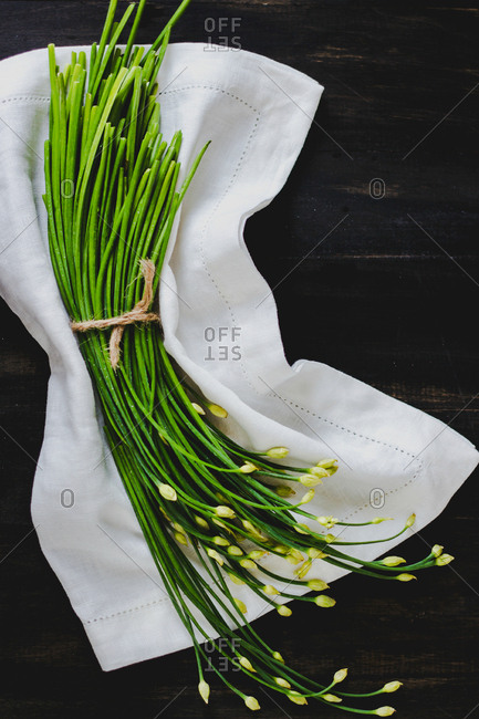 Bundle of garlic chives tied with twine on a cloth
