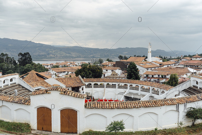 Guatavita Village, Colombia - March 19, 2017: Wide angle view of inside a bull fighting arena
