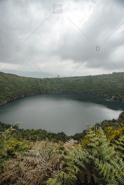 Guatavita lagoon, aerial view, Laguna de El Cacique Guatavita, El Dorado legend, Colombia