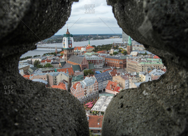 Vecr_ga, the historic center of RIga framed in a star shape view from the Cathedral