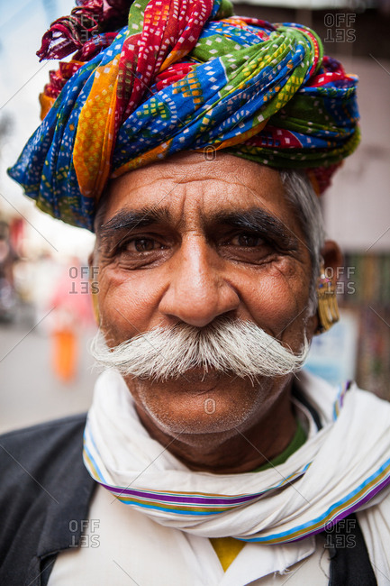 Rajasthan, India - November 8, 2015: Portrait of a man with a long moustache
