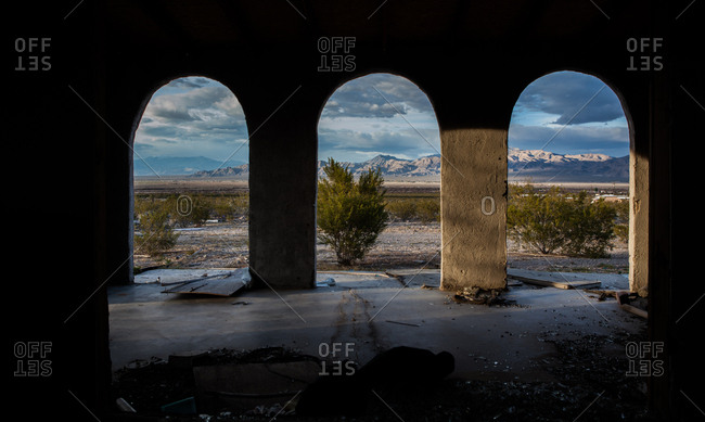 View of mountains from an Abandon house in the Mojave desert, California