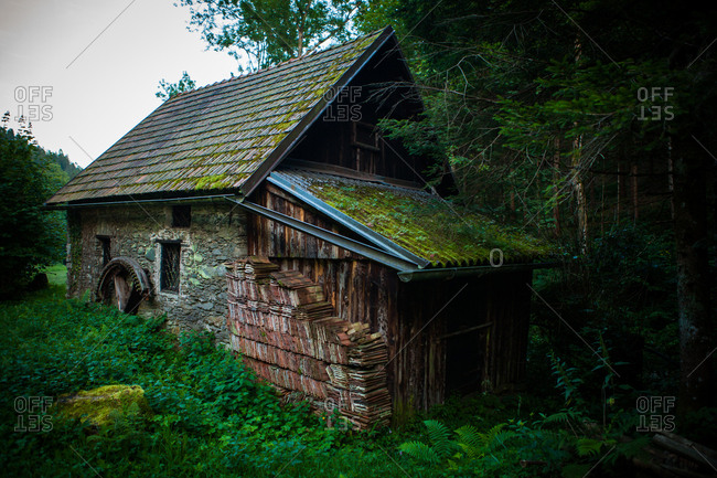 An old stone medieval house in the country side near the alps in Austria