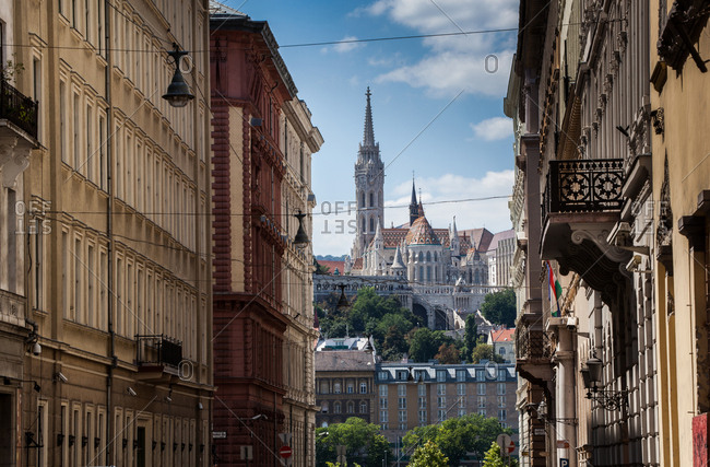 Budapest - August 9, 2016: Budapest castle between alley