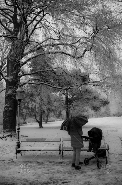 Austria, Vienna - December 20, 2016: A woman with an umbrella and her child in a stroller on a snowy day in the park, Vienna.
