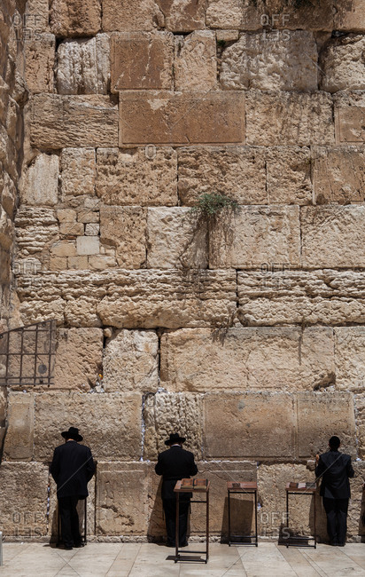 Men Praying at the Western wall in the Jewish Quarter