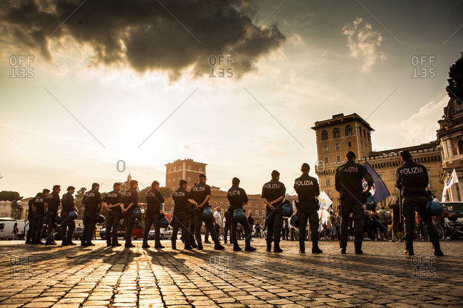 Rome, Italy - July 18, 2013: Italian Police stand ready at a protest in the