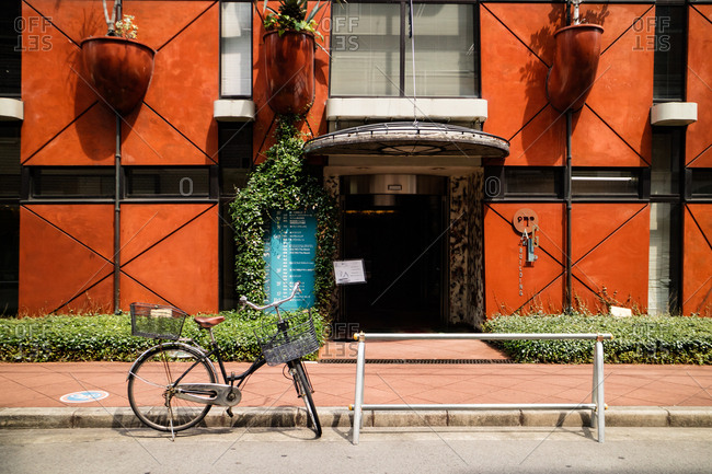 Osaka, JAPAN - August 2, 2016: Urban bicycle parked in the street.
