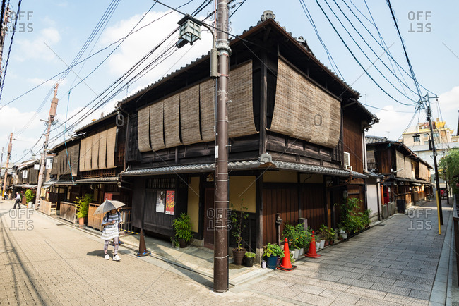 Kyoto, JAPAN - August 13, 2016: Calm street in Gion district in Kyoto.
