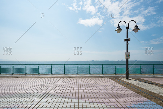 Light post in beach park.