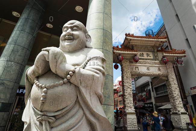 Kobe, JAPAN - August 22, 2016: Changan gate of Chinatown of Kobe nankinmachi.