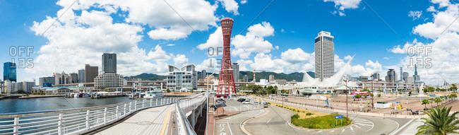 Kobe, JAPAN - August 22, 2016: Panoramic view of Kobe harbor area.