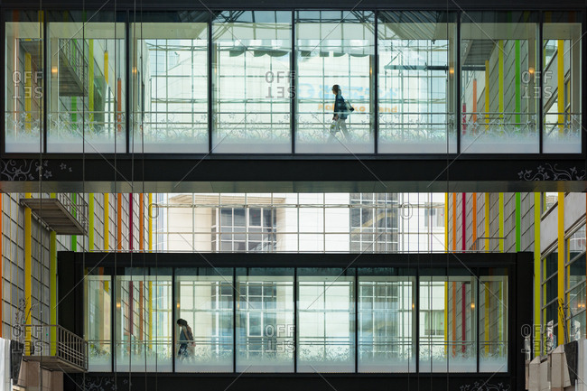 Kobe, JAPAN - August 22, 2016: Modern shopping mall interior.