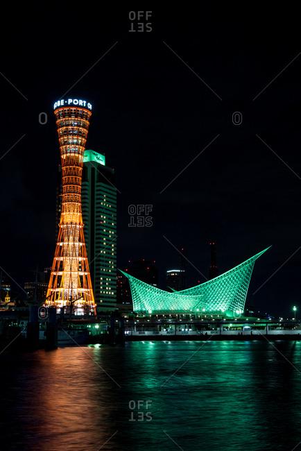 Kobe, JAPAN - August 22, 2016: Night view of Kobe harbor area with Port tower.
