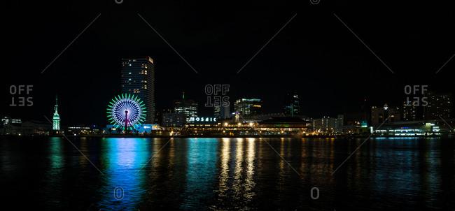 Kobe, JAPAN - August 22, 2016: Panoramic view of Kobe harbor land touristic site.
