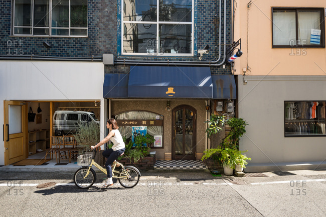 Kobe, JAPAN - August 30, 2016: Small shops in street of Kobe, Japan.