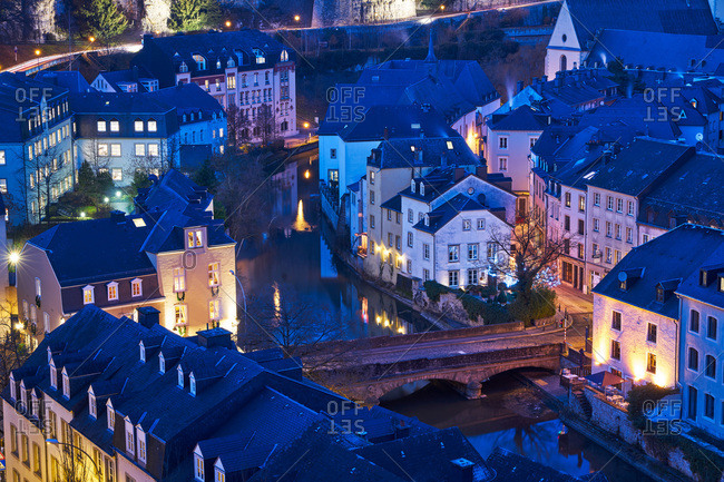 Rue Munster bridge on the Alzette river in Luxembourg City at night