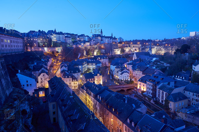 Luxembourg City, Luxembourg - January 16, 2017: Elevated view of Luxembourg City at night