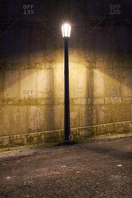 Street lamp illuminated at night