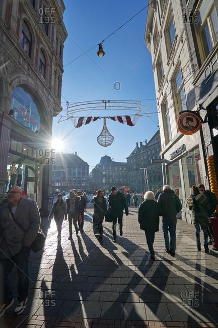 Amsterdam, Netherlands - January 19, 2017: Nieuwendijk shopping streets in Amsterdam