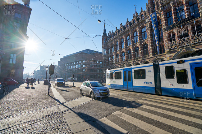 Amsterdam, Netherlands - January 19, 2017: Bus on the streets in Amsterdam