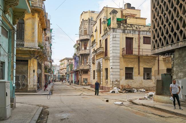 Havana, Cuba - March 3, 2017: Run down buildings and street in Havana, Cuba