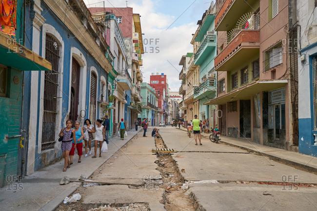 Havana, Cuba - March 3, 2017: Street scene on run down street in Havana, Cuba