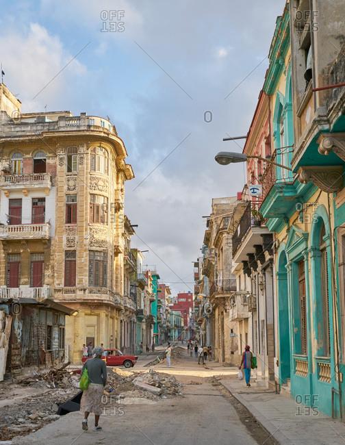 Havana, Cuba - March 3, 2017: Run down street in Havana, Cuba