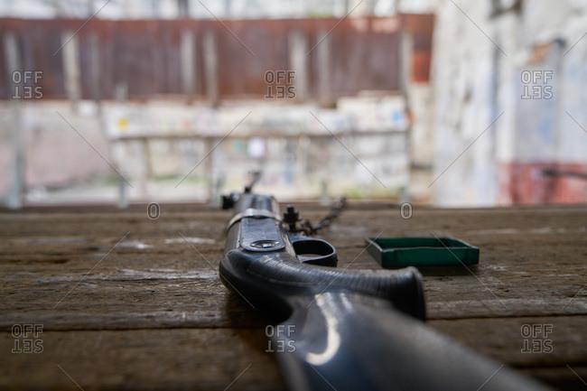 Gun on counter at gun range