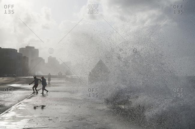 Waves splashing on coast of Havana, Cuba