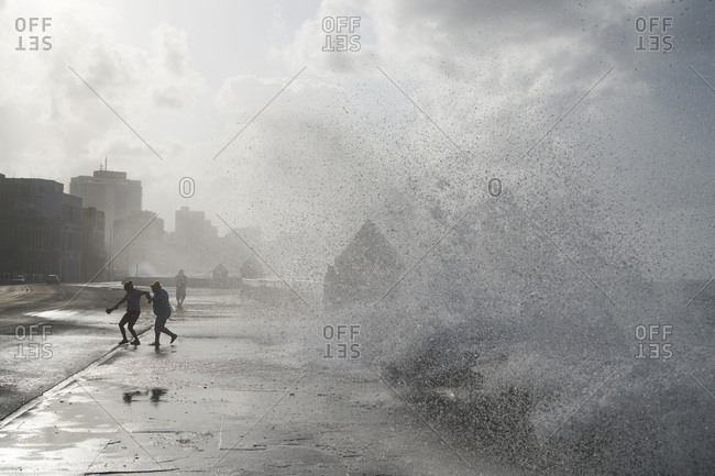 Waves splashing on coast of Havana, Cuba