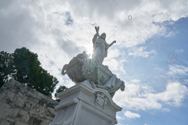 Sculpture on grave in the Colon Cemetery, Havana