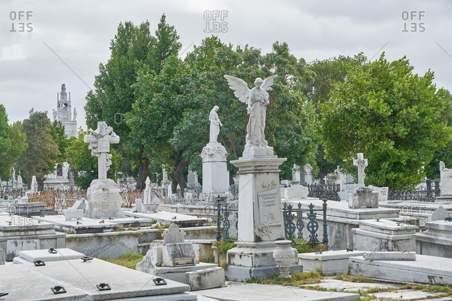 Havana, Cuba - March 5, 2017: Tombstones on graves in the Colon Cemetery, Havana