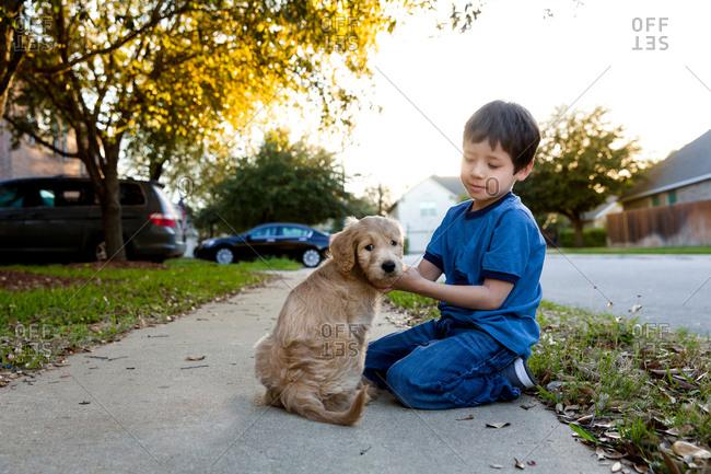 Little boy petting puppy on sidewalk