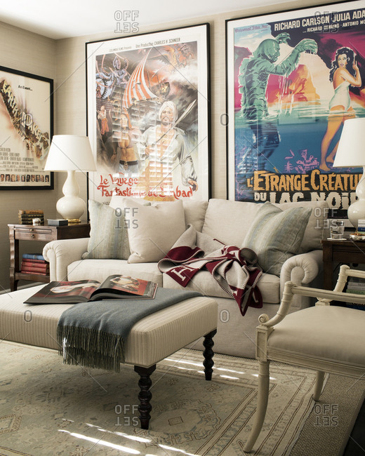 West Hollywood, California, USA - May 4, 2015: Living room in condo with posters on wall