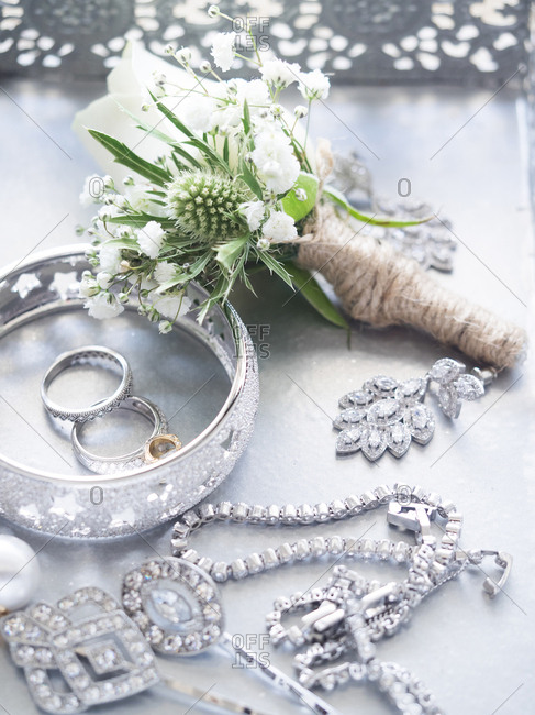 Women's jewelry with bouquet of flowers