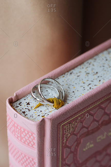 Two wedding rings on holy book