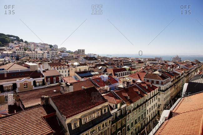 Bird's eye view of residential neighborhood in Lisbon, Portugal