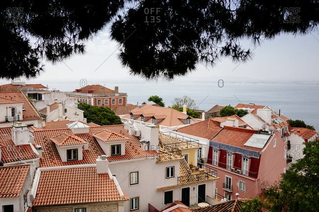 Homes with red rooftops in Lisbon, Portugal