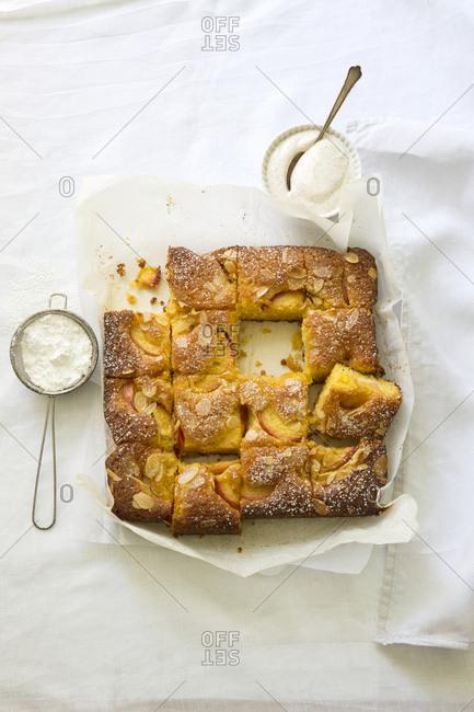 Nectarines almond cake