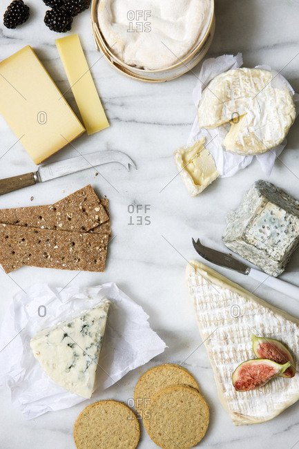 Cheese platter on marble counter