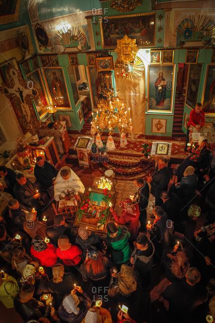 Vadeni, Soroca, Moldova - April 15, 2017: Orthodox Easter service in Vadeni village, Moldova