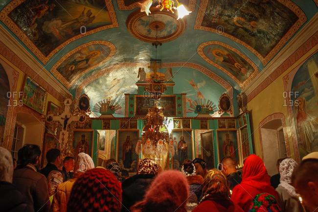 Vadeni, Soroca, Moldova - April 15, 2017: Orthodox Easter service in a small church in Vadeni village, Moldova