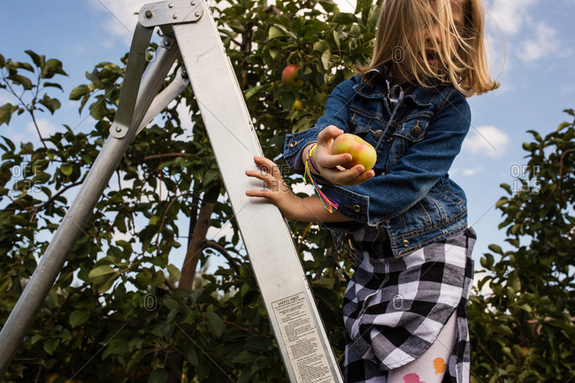 Girl on ladder with an apple