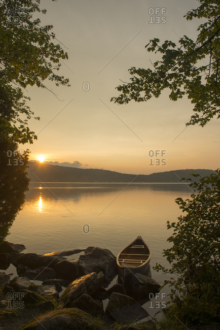 A canoe on lake in Vermont