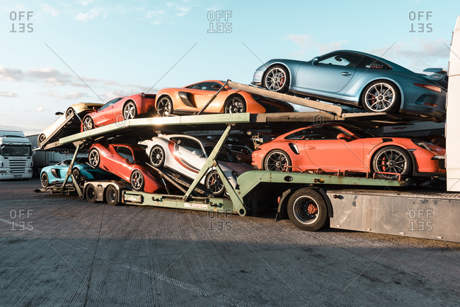Valencia, Spain - April 1, 2017: Sports cars on the back of a truck