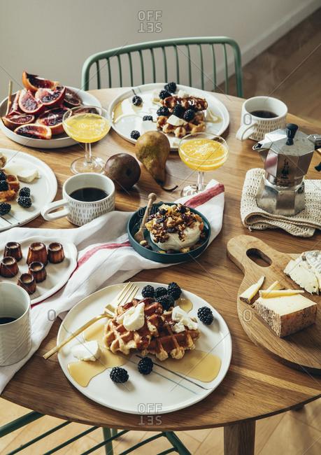 Breakfast arranged on a wooden table