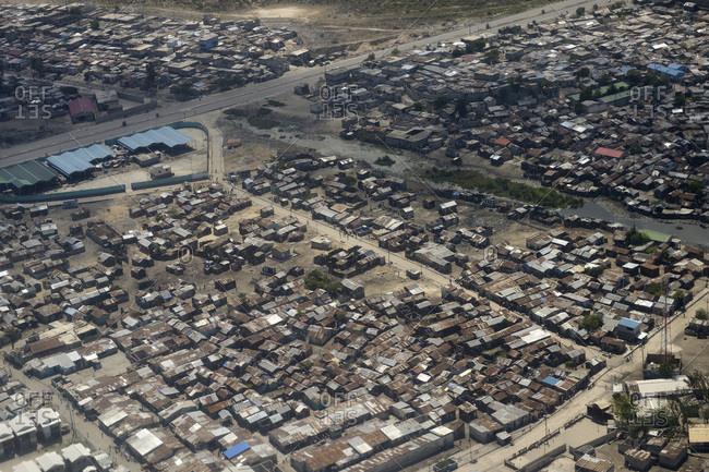 Haiti- Port-au-Prince- Slum of Cite Soleil- arial view