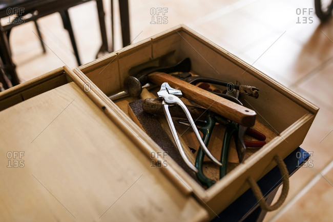 Shoemaker's tools in workshop